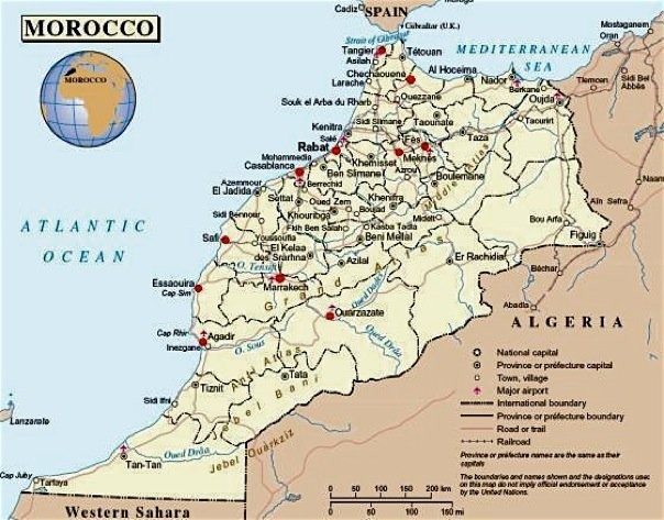 Travel Map of Morocco Morocco Travel Blog