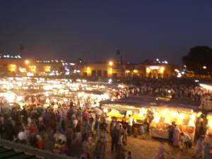 Djemaa El Fna Square at Night, Photo by Mary Mimouna